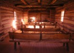 Bluff Fort -- Interior of the replica of the Bluff Fort log meetinghouse. Lamont Crabtree Photo