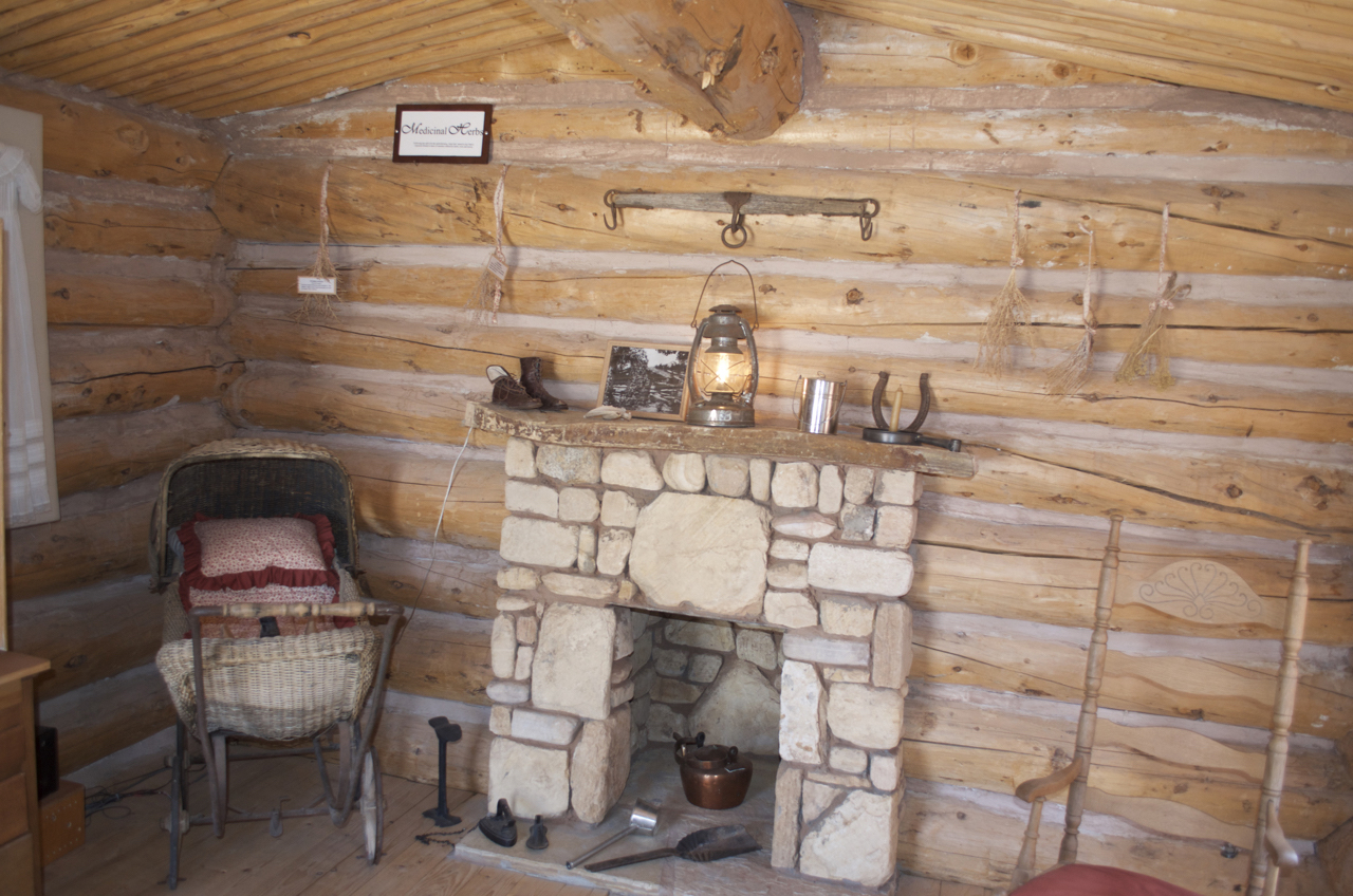 Fireplace within Wood Cabin